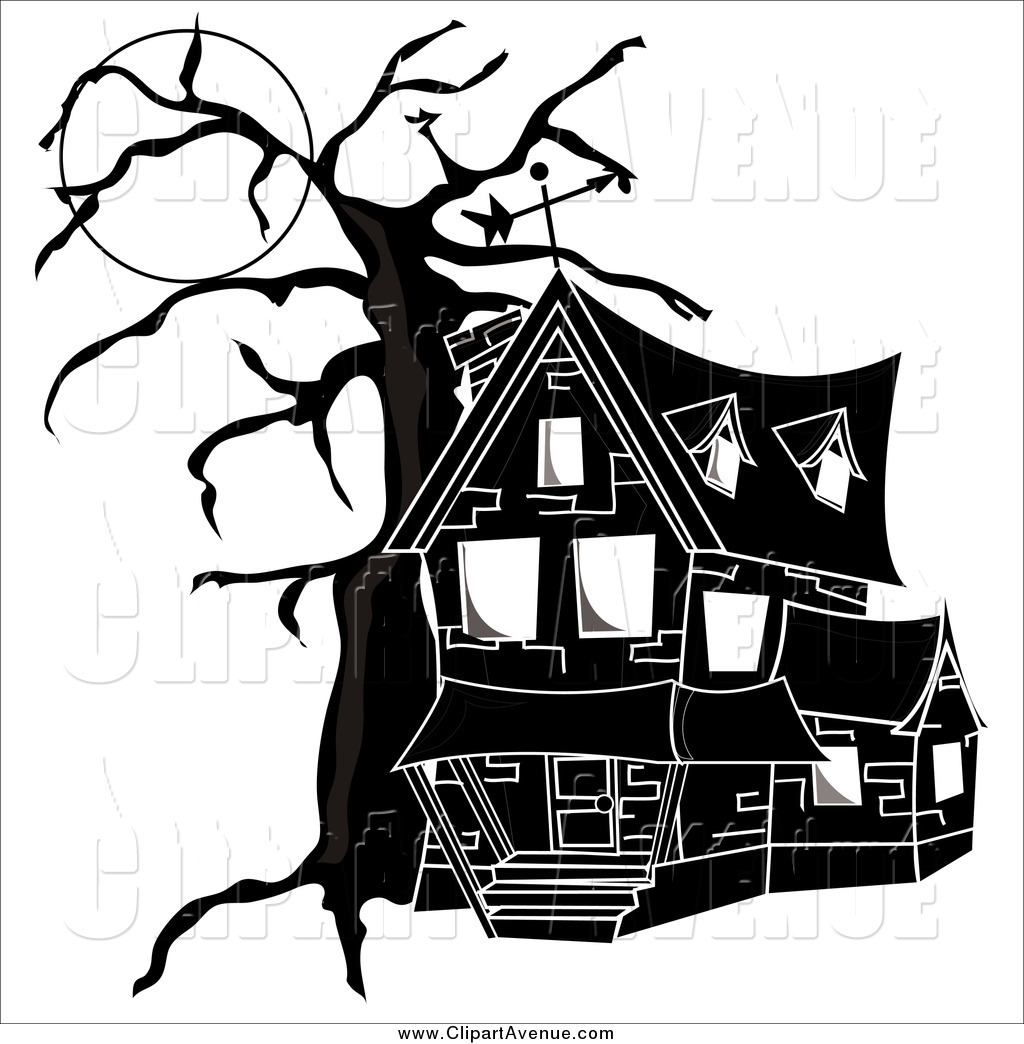 1024x1044 Avenue Clipart Of A Black And White Haunted House By Pams Clipart