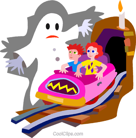 473x480 Haunted House Ride Royalty Free Vector Clip Art Illustration