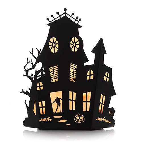500x500 Halloween Silhouettes Haunted House Multi Tea Light Candle