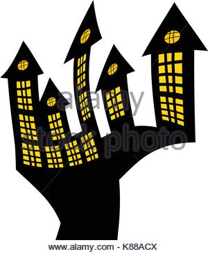 300x366 Halloween Haunted House Silhouette Isolated On White Stock Vector