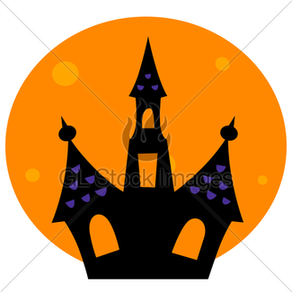 325x325 Halloween Haunted House With Green Moon Behind Gl Stock Images