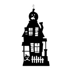 236x236 Haunted House Silhouette Templates