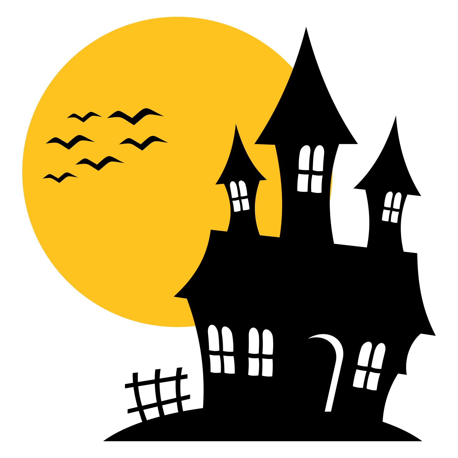 1500x1500 Vector For Free Use Haunted House Silhouette