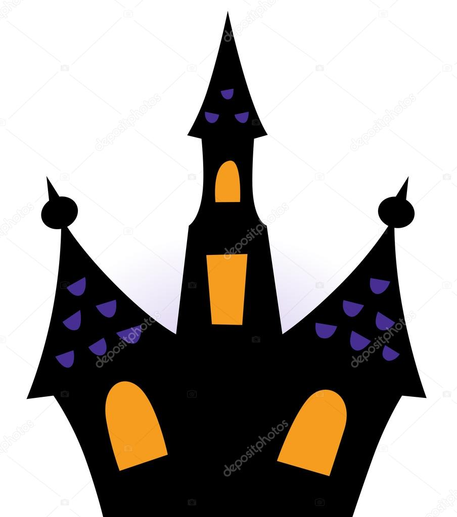 904x1024 Halloween Haunted House Silhouette Isolated On White Stock