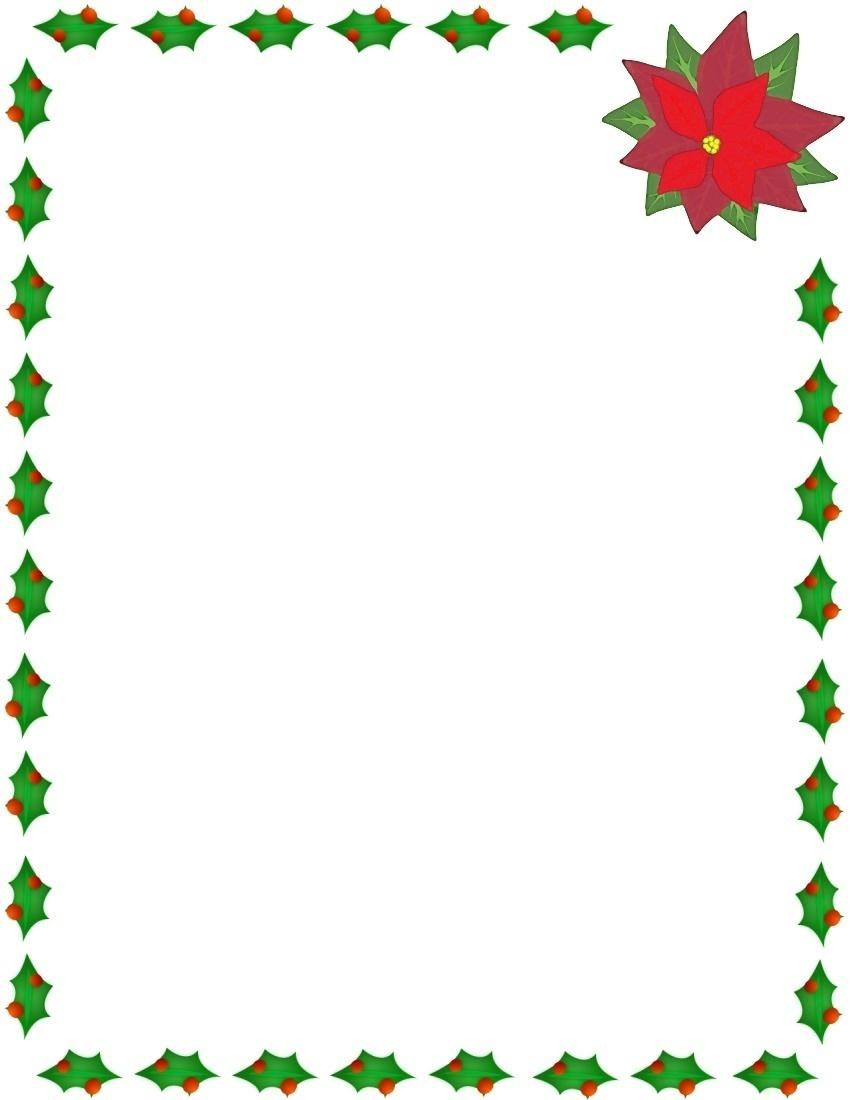 850x1100 christmas flowers border clipart