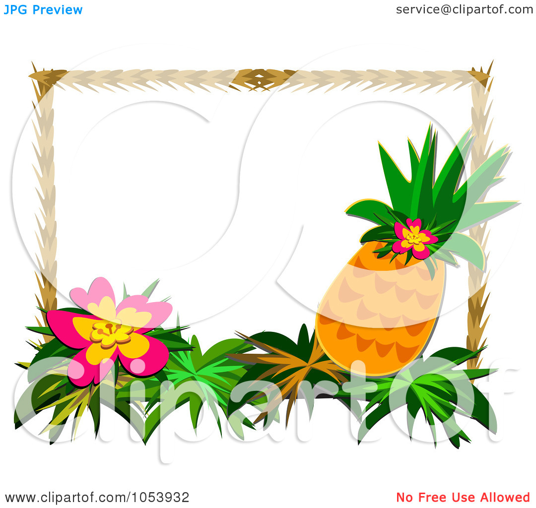 Hawaiian Flower Border Clipart