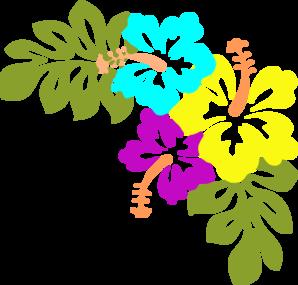 Hawaiian Flowers Border Clipart