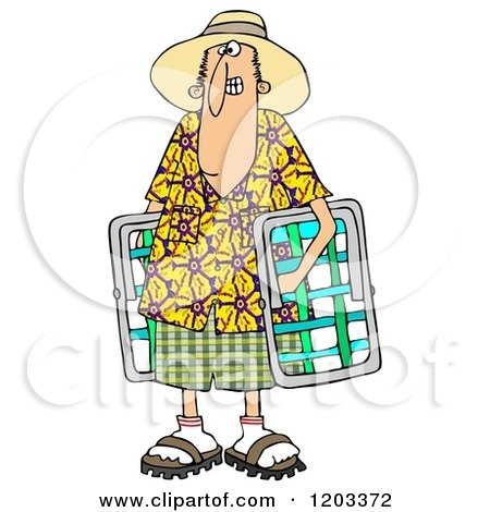 450x470 Cartoon Of A White Man In A Hawaiian Shirt, Carrying Lawn Chairs