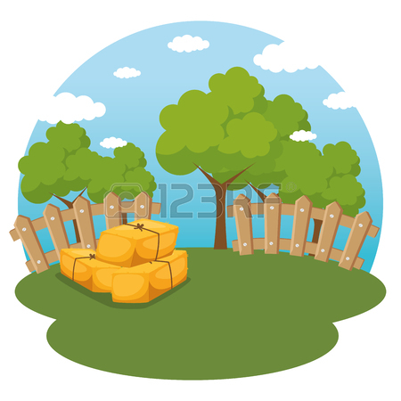 450x450 Colored Cartoon Illustration Of Bales Of Hay Icon. Royalty Free