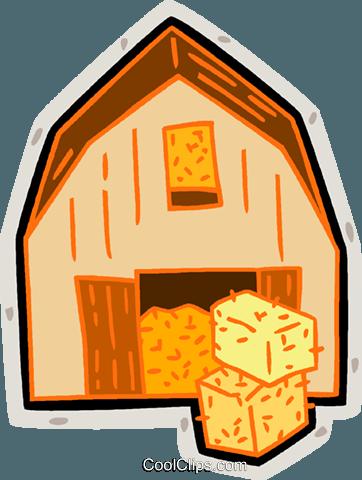 362x480 Barn, Hay Bales, Farm Royalty Free Vector Clip Art Illustration