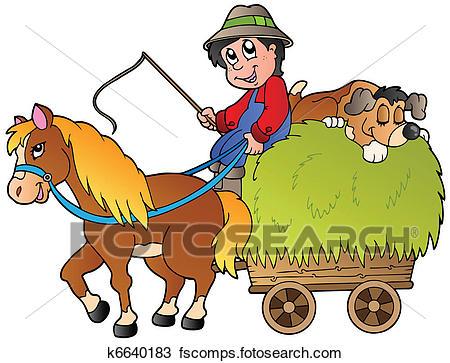 450x363 Clipart Of Hay Cart With Cartoon Farmer K6640183