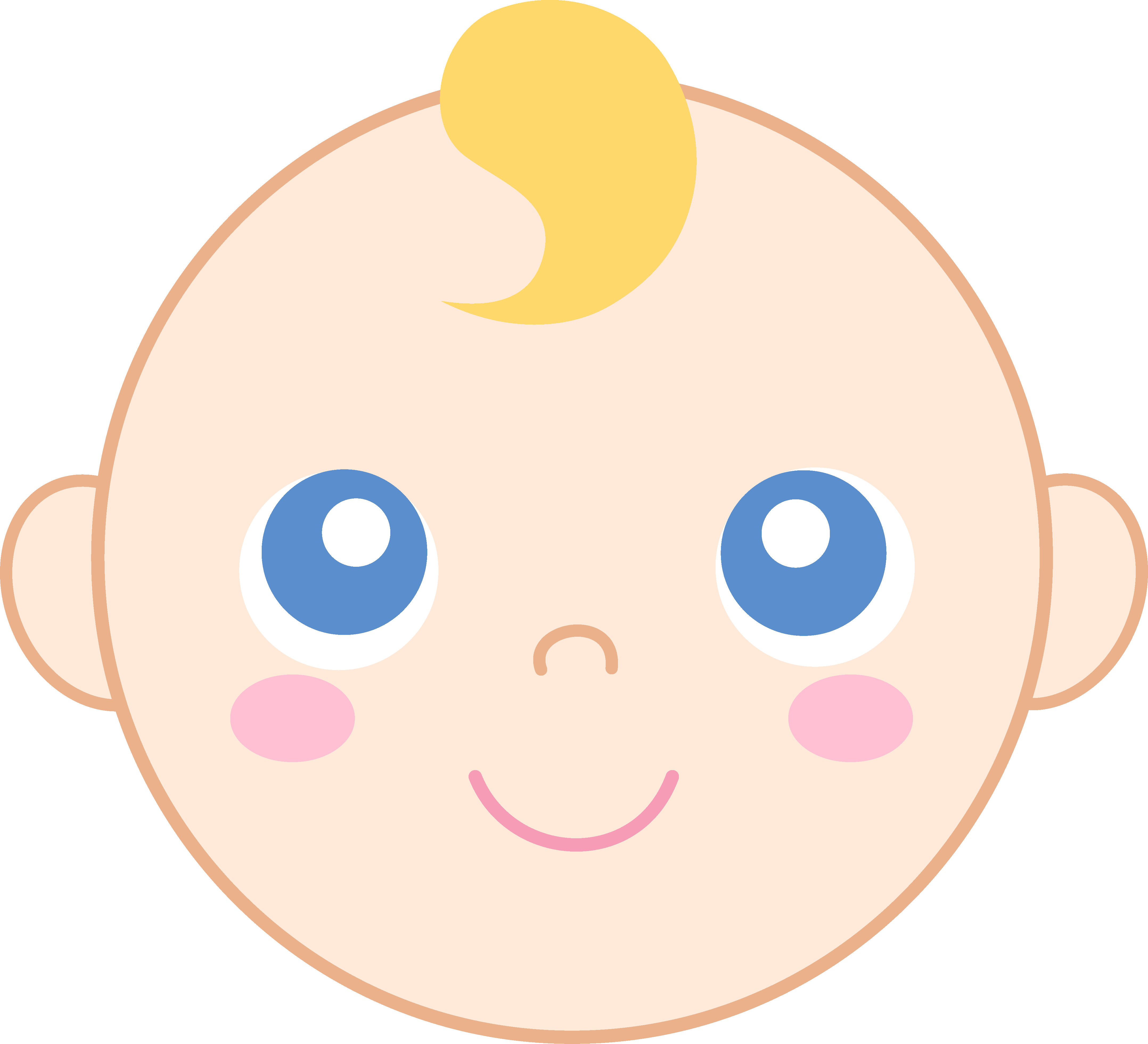 4312x3922 Cute Baby Face Clipart