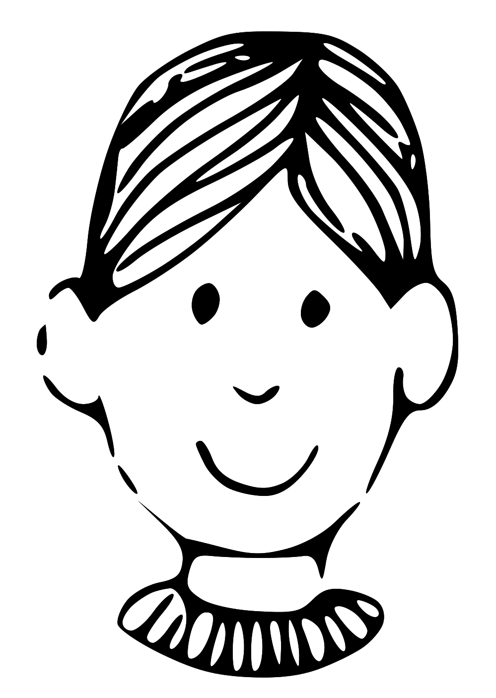 999x1406 Face clipart black and white