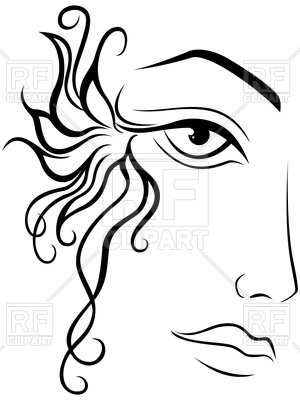 300x400 Part of abstract black and white women face Royalty Free Vector