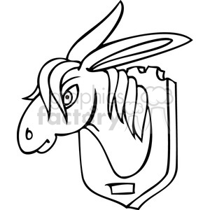 300x300 Royalty Free black and white clip art of a donkey head on the wall