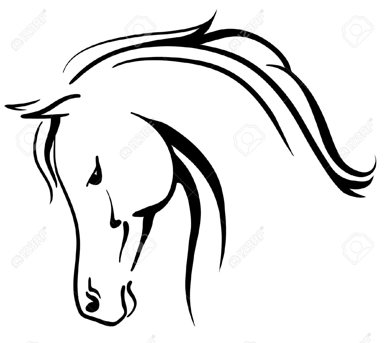 1300x1160 horses head clipart black and white