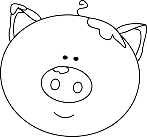 500x466 Black and White Pig Face with Mud Clip Art