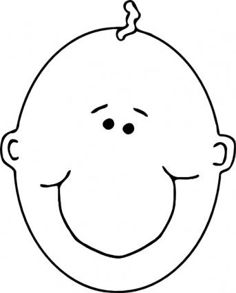 343x425 Happy Boyface Outline Clip Art Vector, Free Vector Graphics