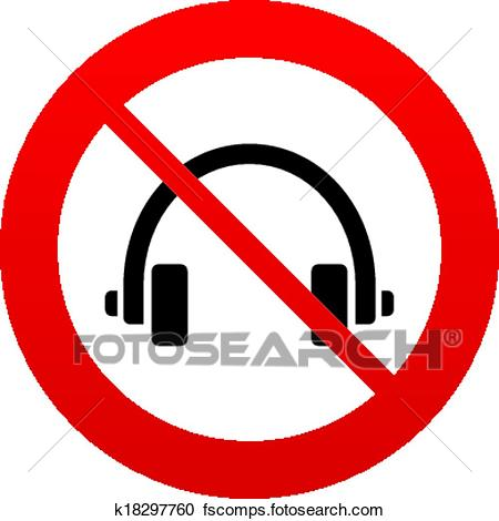 450x470 Clipart Of Don`t Use Headphones Sign Icon. Earphones Button