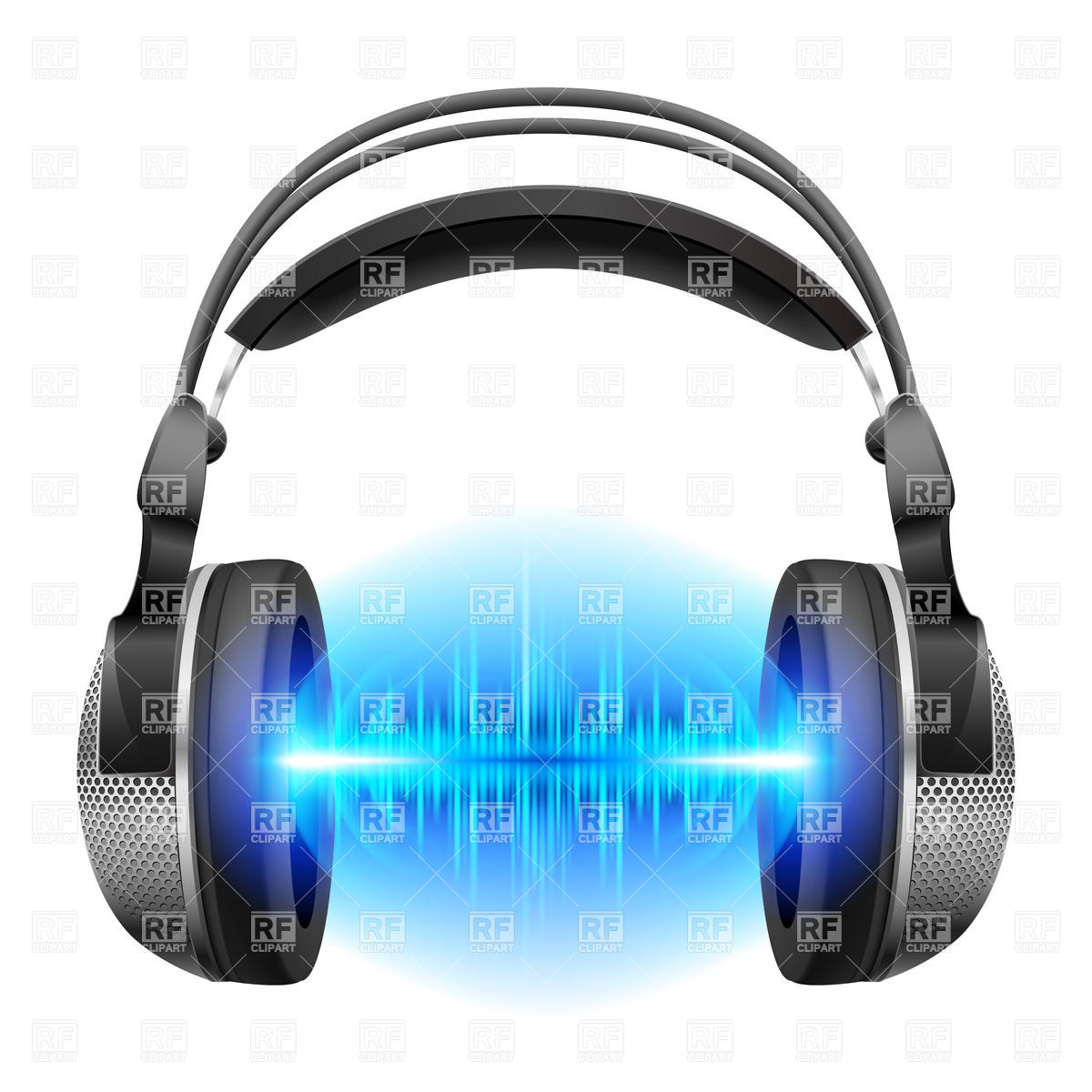 1200x1200 Headphones With Blue Sound Waves Isolated On White Royalty Free