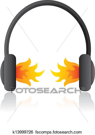 333x470 Clip Art Of Loud Rocking Music Headphones On Fire K13999726