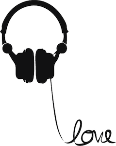 239x300 Headphone Love Wire Wall Art Decal Headphones, Silhouettes