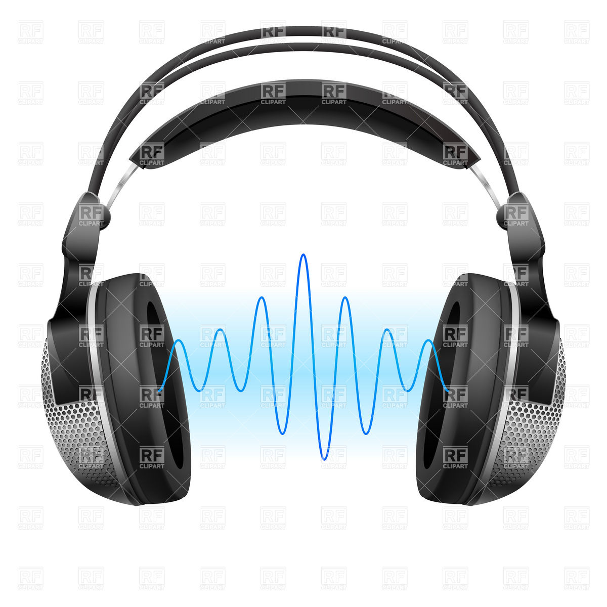 1200x1200 Realistic Headphones And Music Wave Royalty Free Vector Clip Art