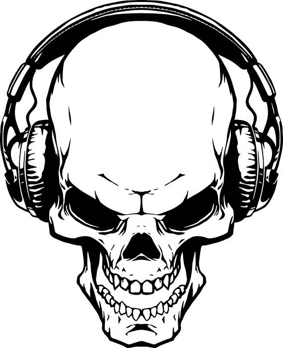 570x702 Skull Headphones 1 Music Wave Listening Wireless Skeleton