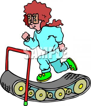 301x350 Royalty Free Clipart Image Cartoon Of A Woman Running On A Treadmill