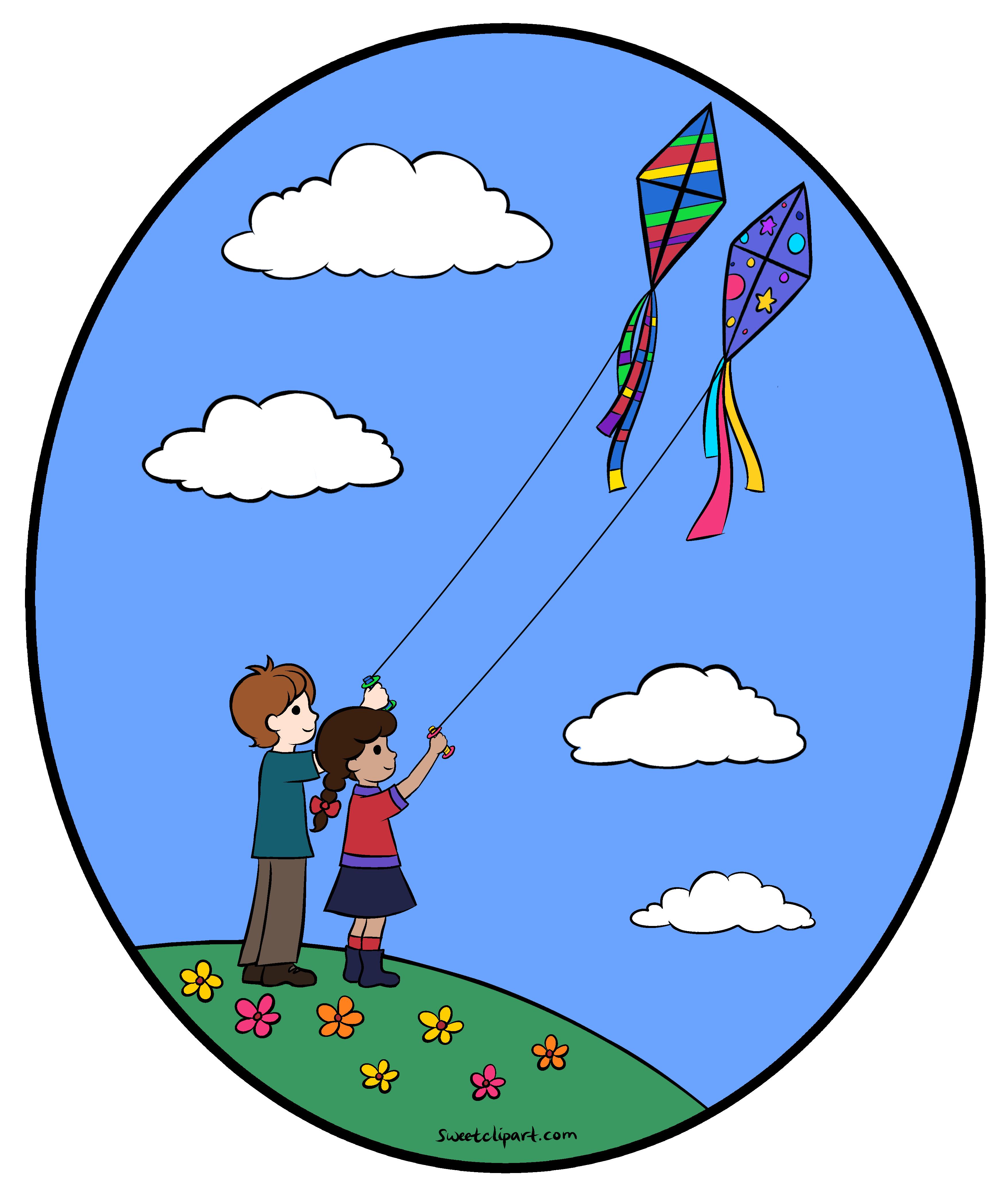 3510x4156 Flying Kites Clipart Illustration