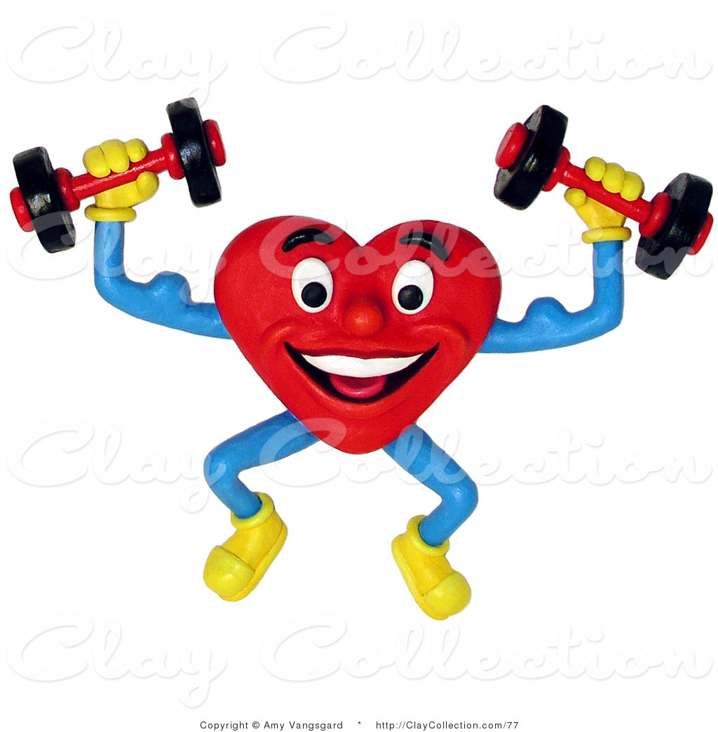 1024x1044 Clay Illustration Of A 3d Healthy Heart Lifting Hand Weights By