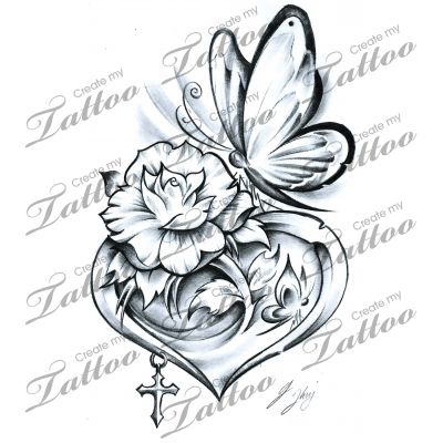 Heart And Ribbon Tattoo Designs Clipart Free Download