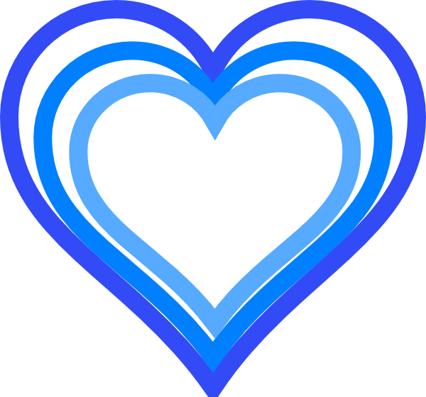 600x560 Triple Blue Heart Outline Clip Art