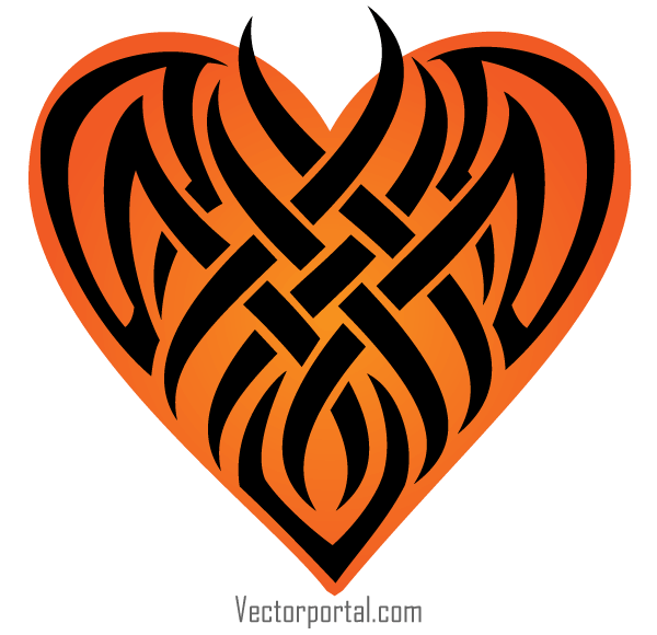 600x580 Vector Tribal Heart Tattoo Designs 123Freevectors