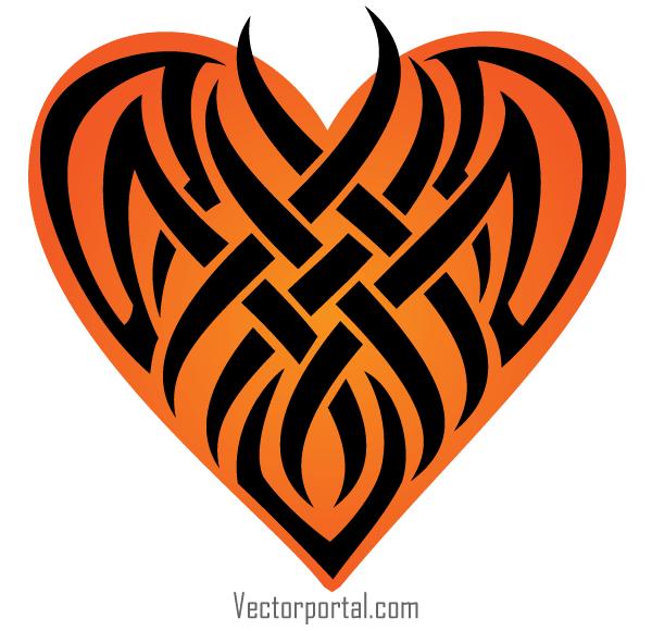 600x580 Vector Tribal Heart Tattoo Designs 123freevectors