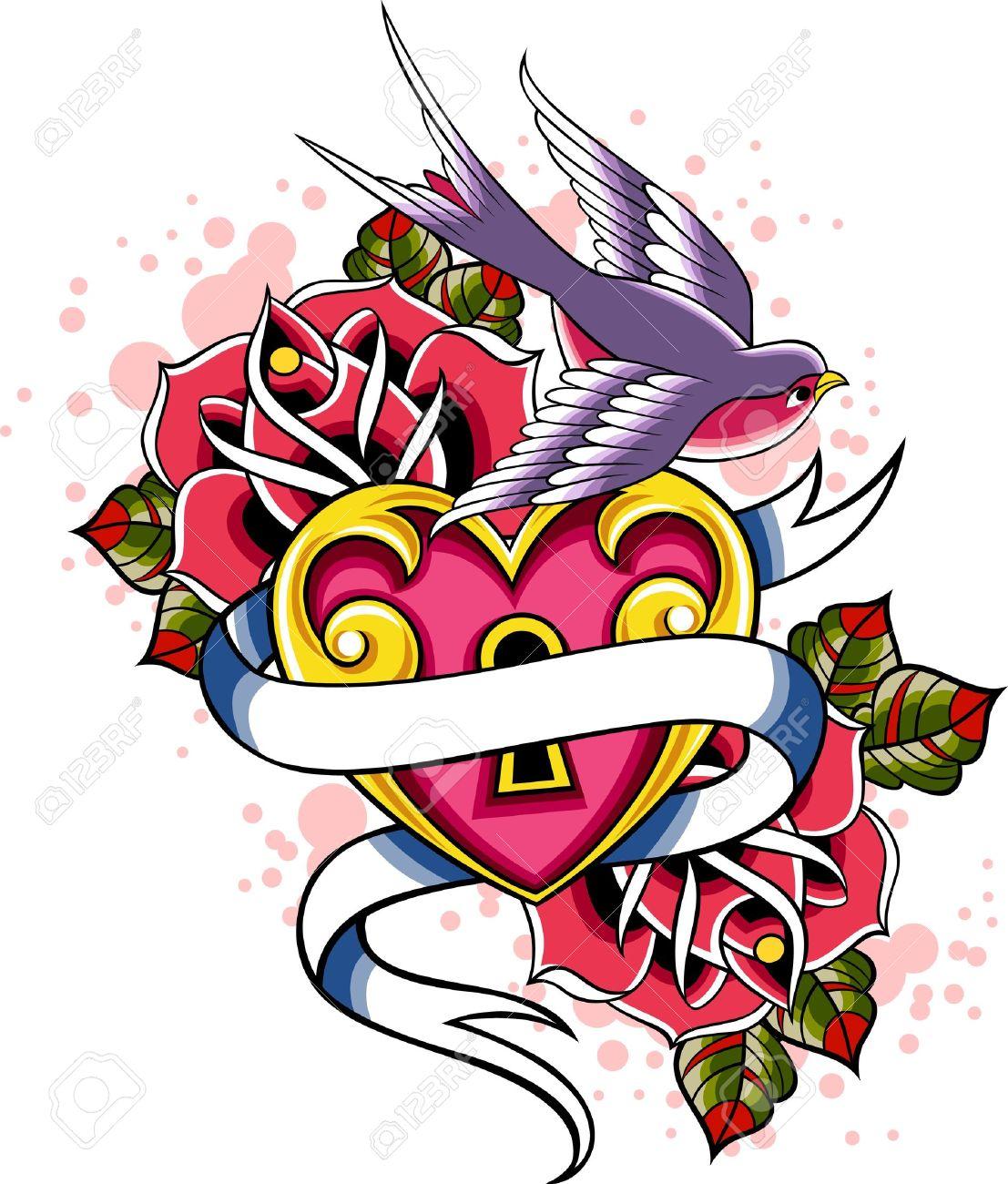 1107x1300 Heart Swallow Tattoo