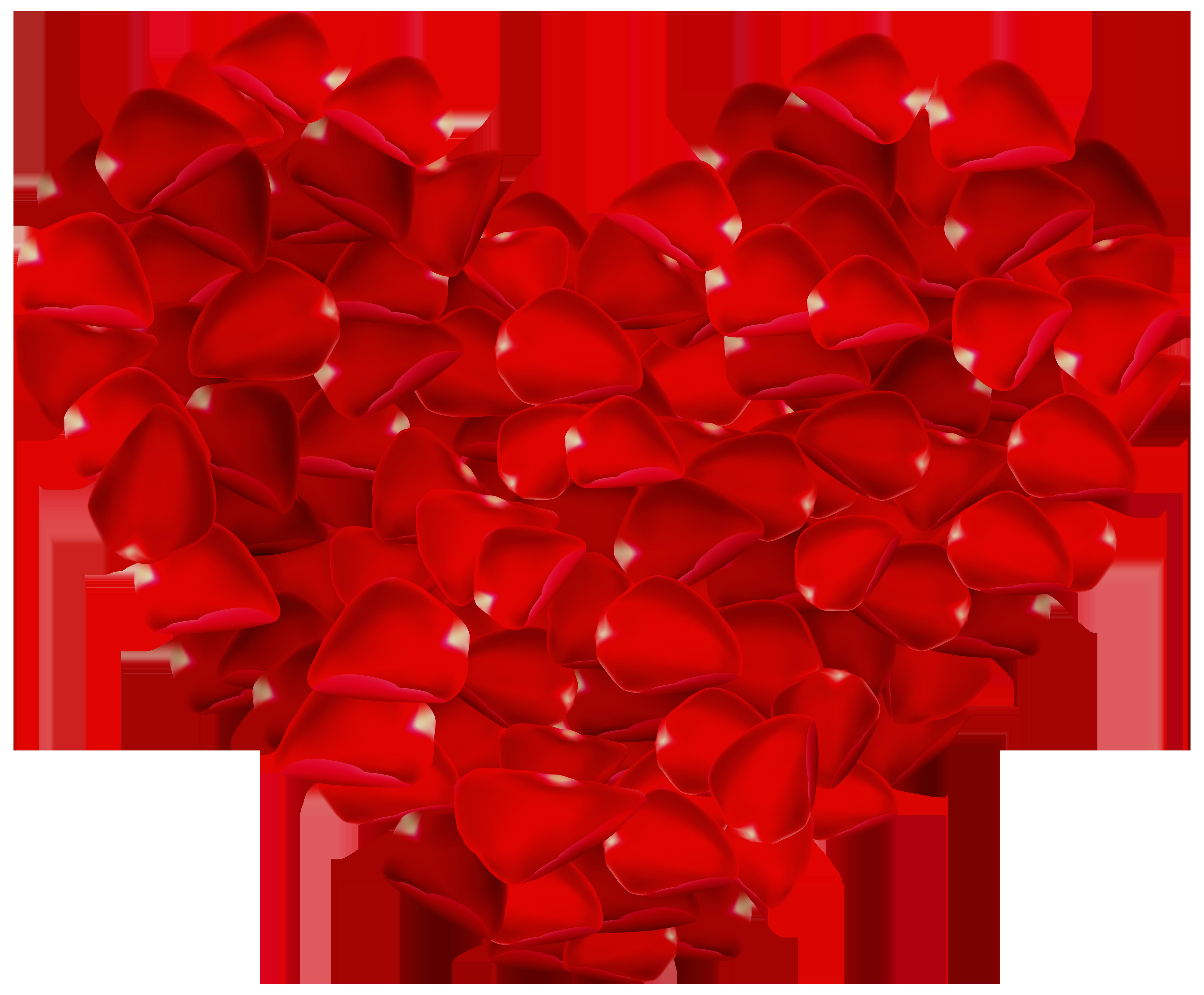 5000x4134 Rose Petals Heart PNG Clipart Image