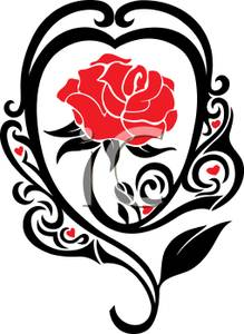 219x300 Art Image A Red Rose In A Tribal Heart