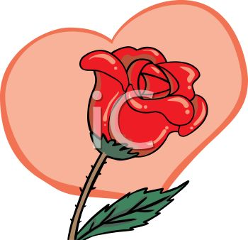 350x338 Royalty Free Clip Art Image Red Rose In Front Of A Heart