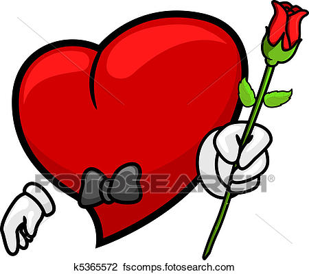 450x400 Clip Art Of Heart Giving A Rose K5365572