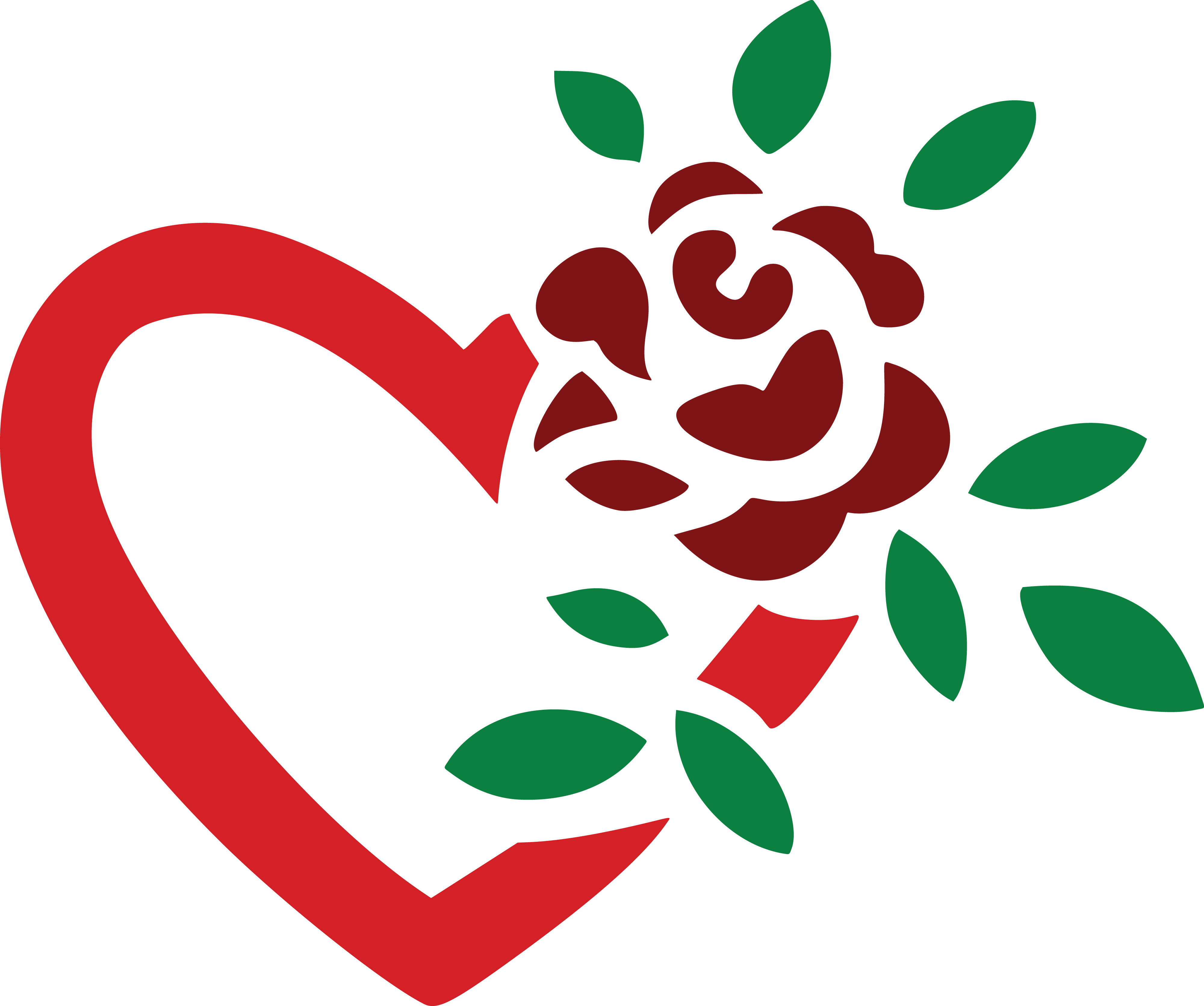 4000x3345 Clipart Of A Fully Bloomed Red Rose And Love Heart