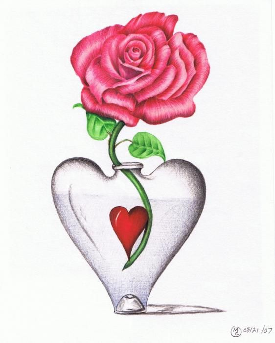 562x700 Drawn red rose vase drawing