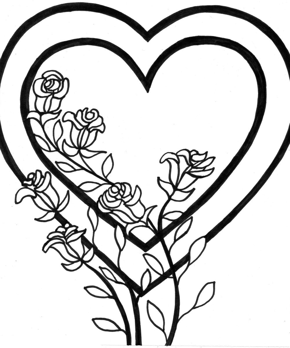 1000x1198 coloring roses pictures Free Printable Heart Coloring Pages For