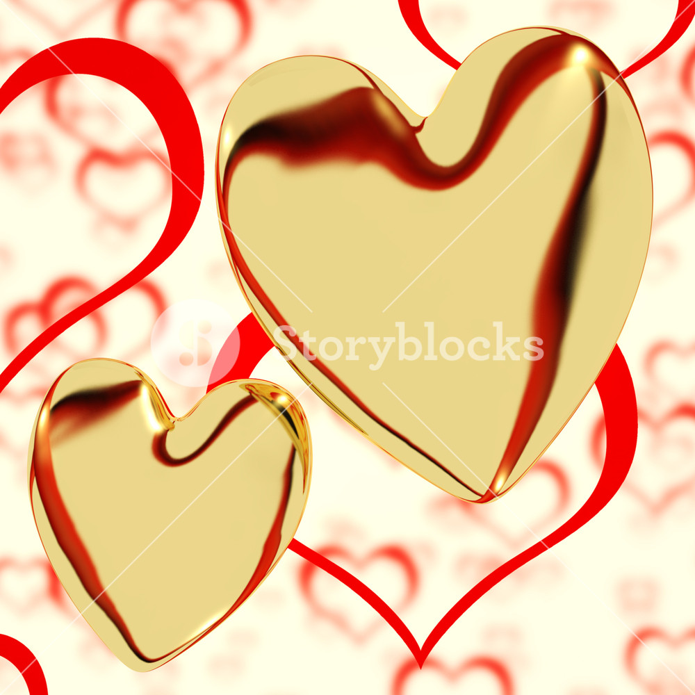 1000x1000 Gold Hearts On A Heart Background Showing Love Romance