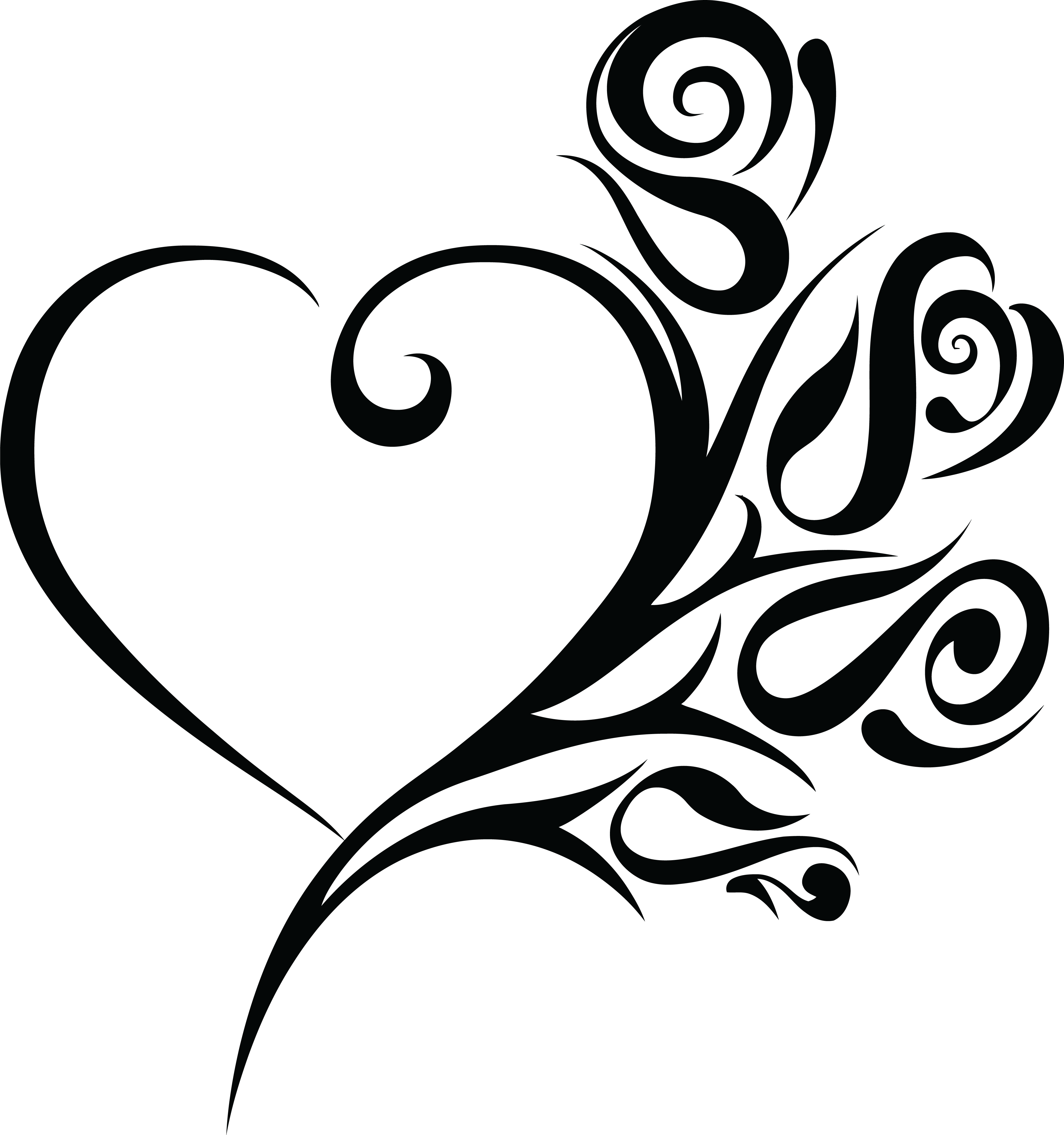 4000x4266 Free Clipart Of A Heart Wedding Frame With Black And White Tribal