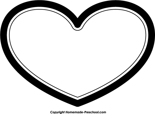 532x391 Black And White Heart Clip Art