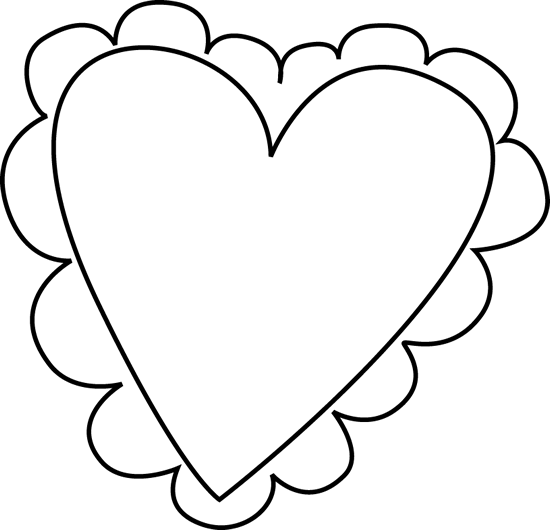 550x530 Black And White Valentine's Day Heart Clip Art