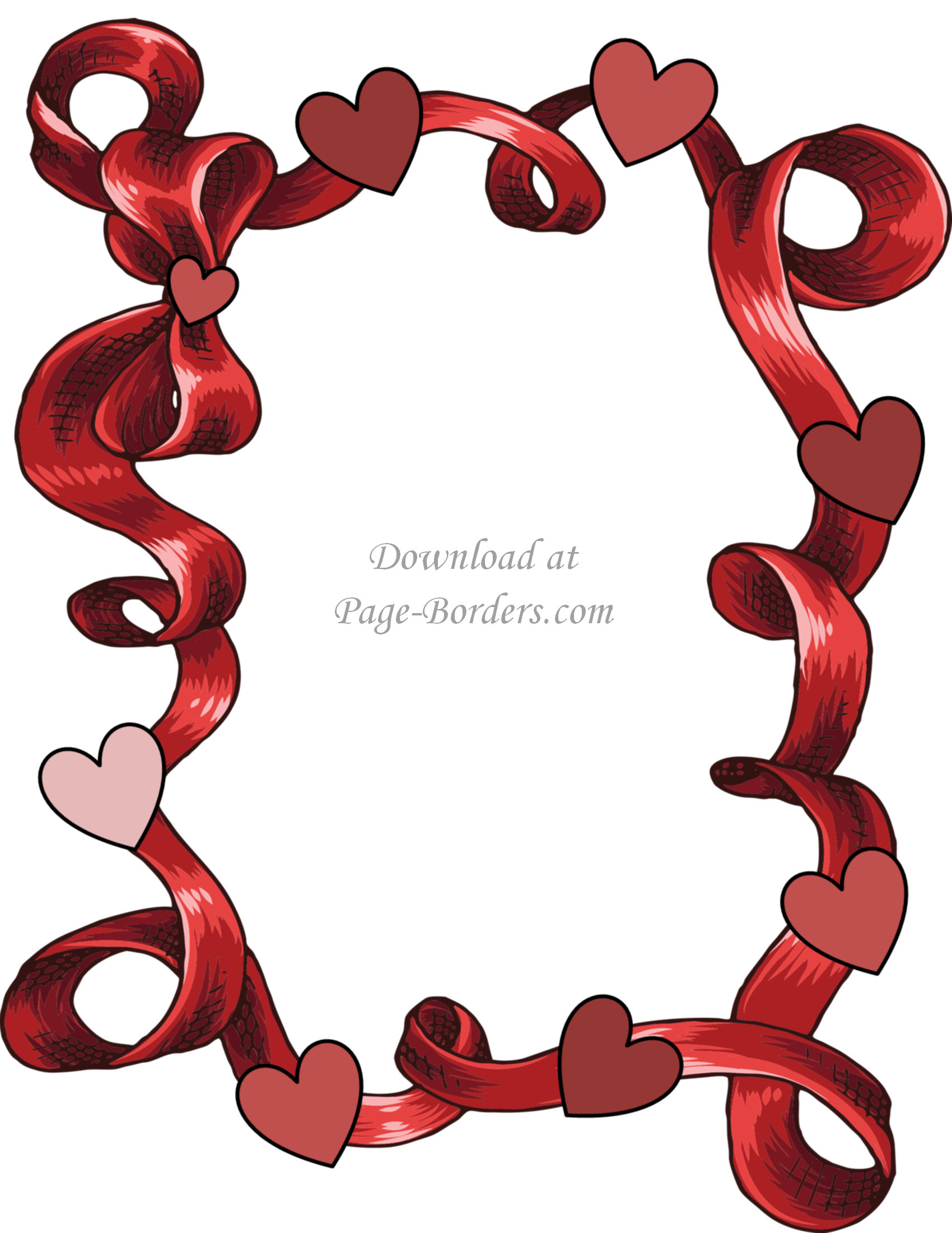 1700x2200 Free Printable Heart Border Customize online or download as is