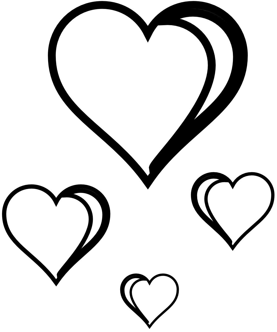 1111x1332 Free Black And White Hearts Cliparts