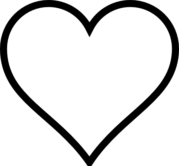 600x557 Black And White Heart Clip Art